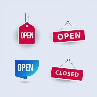 Set di modelli di segni aperti e chiusi