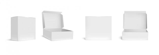 Scatola bianca aperta e chiusa. scatole d'imballaggio aperte, pacchetto rettangolare vuoto ed insieme realistico dell'illustrazione dei pacchetti 3d. contenitori vuoti quadrati, raccolta di clipart degli imballaggi in cartone