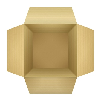 Aprire la scatola di imballaggio in cartone ondulato vuota