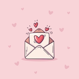 Busta aperta con lettera d'amore in stile doodle su sfondo rosa con cuori.