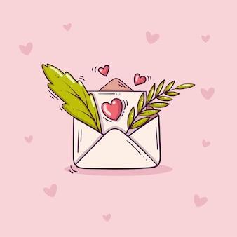 Busta aperta con lettera d'amore e foglie verdi in stile doodle su sfondo rosa con cuori