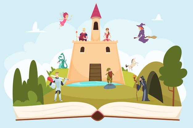 Aprire il libro delle fiabe. fondo di fantasia con il paesaggio del fumetto della strega del mago della principessa del cavaliere della mascotte divertente sulle pagine.