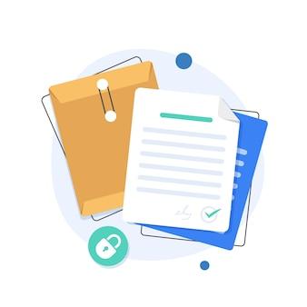 Cartella aperta, cartella con documenti, concetto di protezione del documento