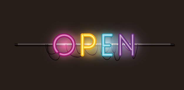 Etichetta di luci al neon di caratteri aperti