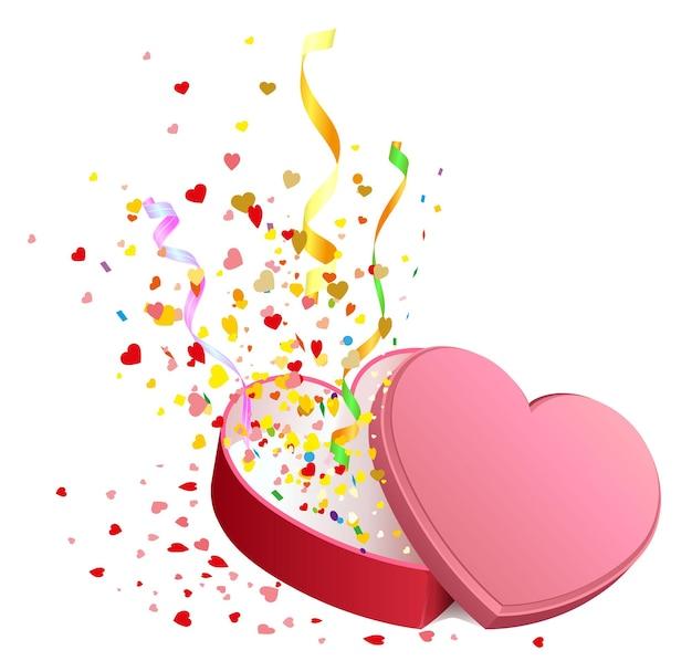 Confezione regalo aperta a forma di cuore. illustrazione isolata in formato vettoriale