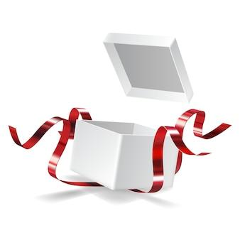 Contenitore di regalo aperto con fiocco rosso isolato su bianco