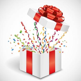 Apra il regalo con l'illustrazione della fiamma e dei coriandoli 3d della mosca