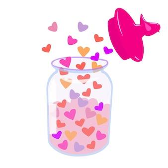 Barattolo aperto con coperchio con cuori bottiglia con cuore illustrazione romantica per san valentino