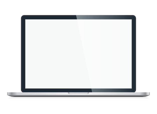 Apri laptop con schermo vuoto isolato su sfondo bianco
