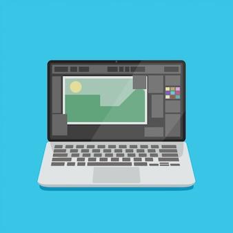 Computer portatile aperto con applicazione di design