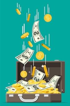 Apra la valigia di cuoio piena di soldi
