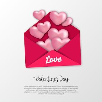 Lettera d'amore aperta, busta rosa dolce con forma di cuore realistica per la cartolina d'auguri di san valentino e vista dall'alto del concetto di illustrazione dell'invito con sfondo bianco