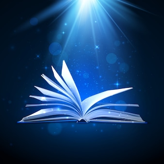 Libro magico aperto su sfondo blu con luce di fantasia e scintillii