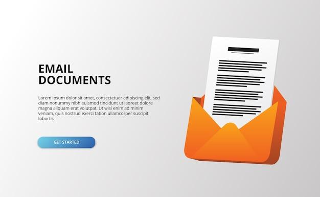 Lettera aperta dell'icona 3d della clip del documento della posta con la carta dei file per i file di posta in arrivo del messaggio digitale