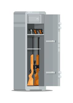 Cassaforte di metallo aperta con pistole e fucili