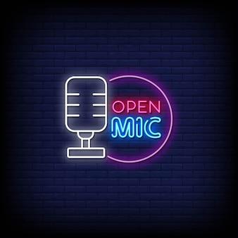 Apri il testo in stile insegne al neon del microfono