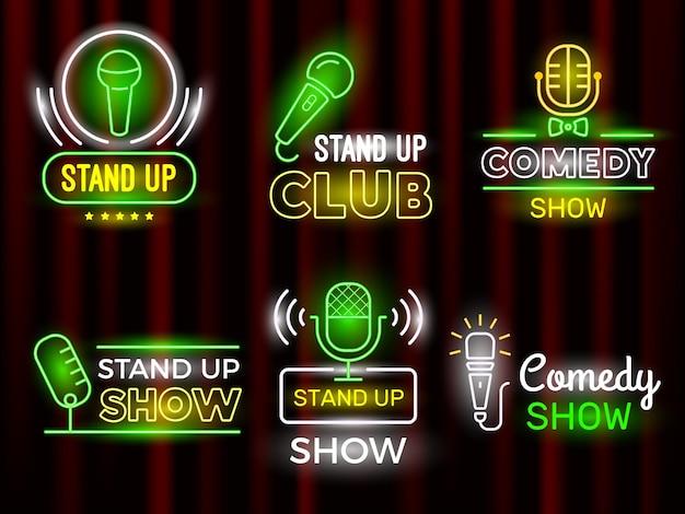 Set di logotipo al neon di simboli comico microfono aperto.