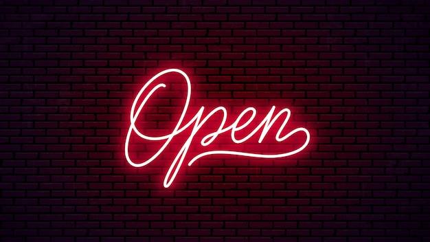 Iscrizione disegnata a mano al neon aperta. pronto design cartello luminoso. testo al neon isolato su sfondo muro di mattoni.