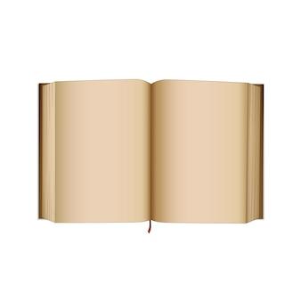 Apri il vecchio libro con pagine vuote vuote. libro in stile retrò, diario o diario. illustrazione grafica isolata.