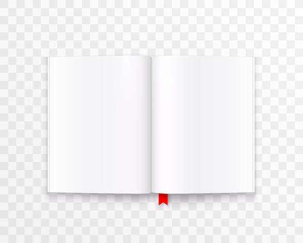 Libro di carta aperto con arte del testo isolato su sfondo trasparente. illustrazione vettoriale