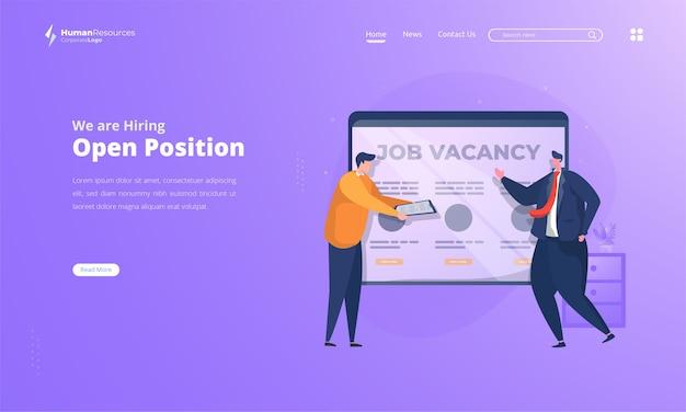 Posizione aperta per l'illustrazione di offerte di lavoro sulla pagina di destinazione