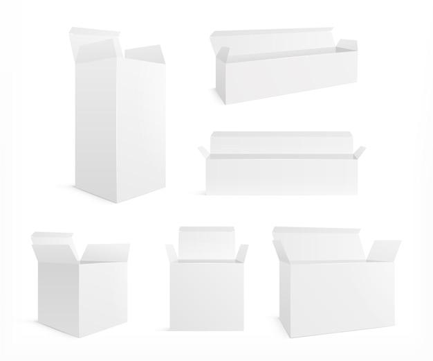 Set di scatole realistiche aperte.