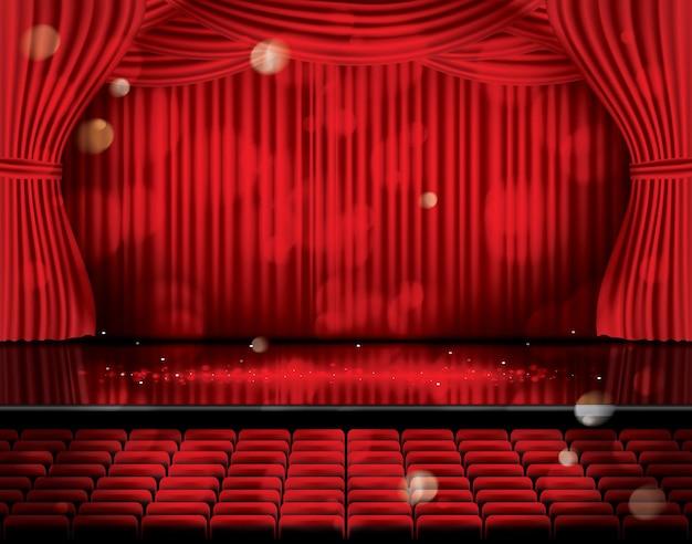 Tende rosse aperte con posti a sedere e spazio di copia. teatro, opera o scena cinematografica. luce su un pavimento.