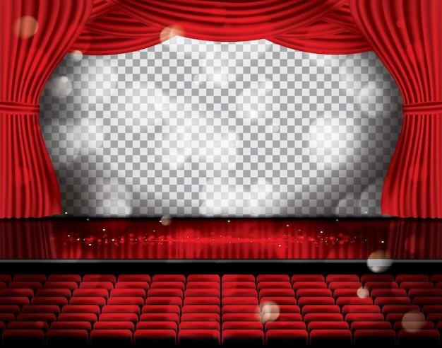 Aprire le tende rosse con posti a sedere e copiare lo spazio sulla griglia trasparente. teatro, opera o scena cinematografica. luce su un pavimento.