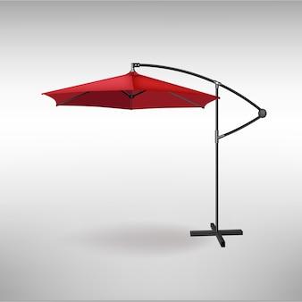 Ombrello rosso aperto per l'estate e il bar sulla spiaggia. illustrazione
