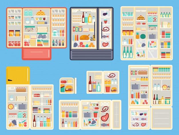 Set di prodotti per frigorifero aperto.