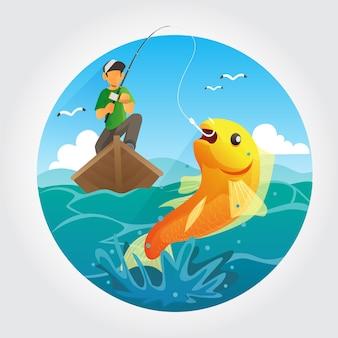 Illustrazione di pesca in mare aperto