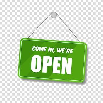 Cartello aperto per porta isolato su sfondo trasparente