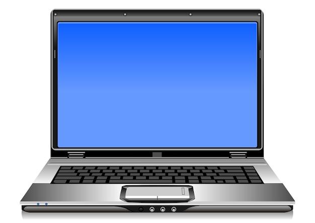 Aprire il computer portatile d'argento su uno sfondo bianco