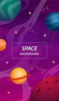Sfondo spazio aperto con pianeti colorati e stelle
