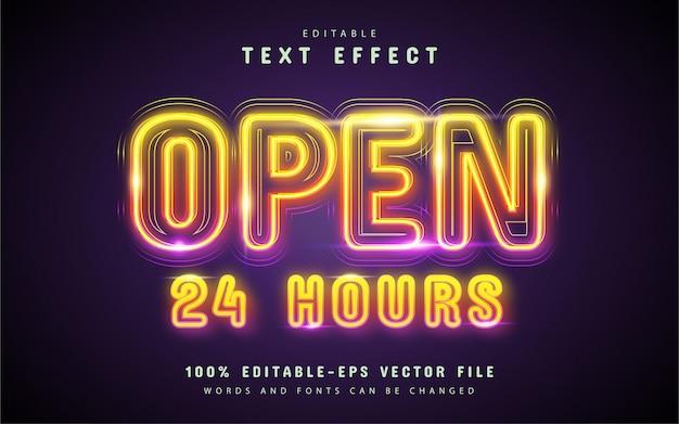 Testo aperto, effetto di testo al neon colorato