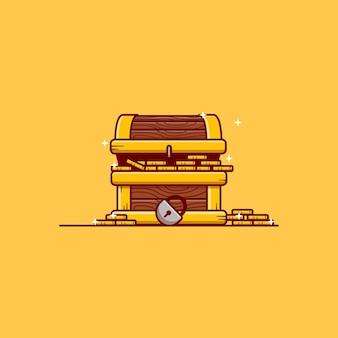 Apri il disegno dell'illustrazione vettoriale della scatola del tesoro pieno di monete d'oro