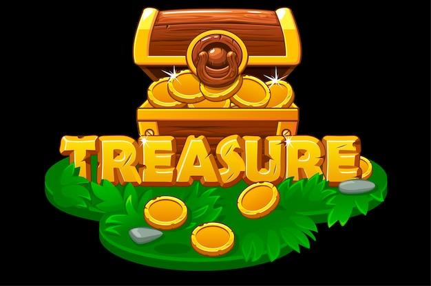 Uno scrigno aperto su una piattaforma in erba isometrica. cassa in legno con monete d'oro sull'isola per il gioco.
