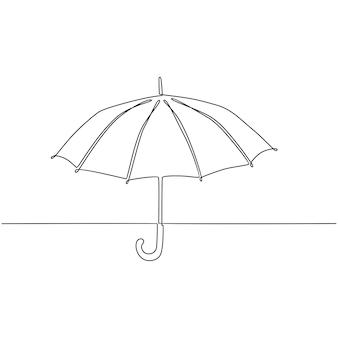 Illustrazione vettoriale di disegno a tratteggio continuo ombrello aperto