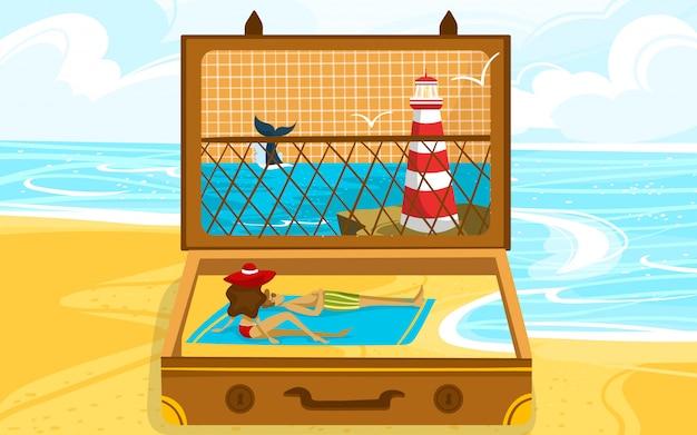 Illustrazione aperta di concetto di viaggio della valigia di vacanza. cartone animato paesaggio spiaggia piatta con rilassante vacanziere viaggiatore coppia persone, faro e onde del mare, paesaggio marino creativo all'interno della valigia