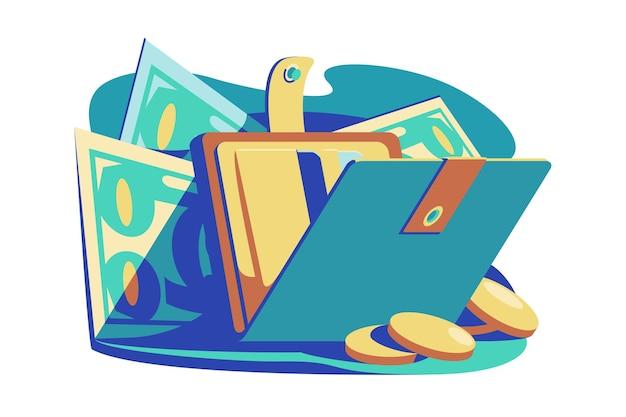 Aprire il portafoglio con la borsa di illustrazione vettoriale di contanti con l'economia di stabilità finanziaria di stile piano di banconote e monete e risparmiare per il concetto futuro isolato