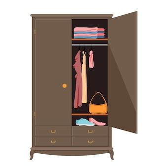 Armadio aperto armadio con vestiti ordinati camicie maglioni abiti e scarpe interno di casa