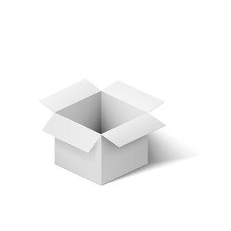 Apri la scatola bianca. scatola realistica con ombra isolata su fondo bianco