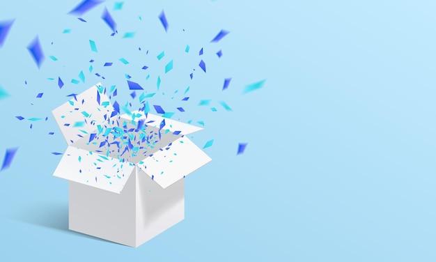 Aprire il contenitore di regalo bianco e l'illustrazione dei coriandoli
