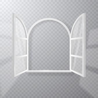 Finestra bianca aperta, cornice e vetro trasparente isolato.