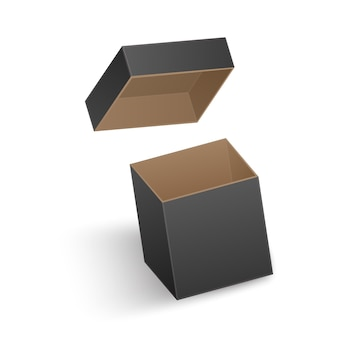 La scatola nera aperta isolata su priorità bassa bianca. illustrazione