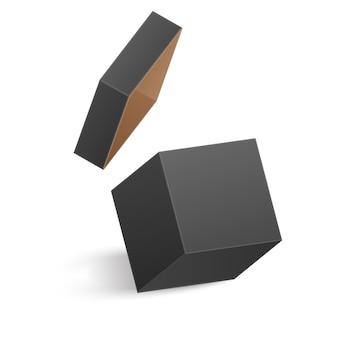 La scatola nera aperta isolata su priorità bassa bianca. illustrazione Vettore Premium