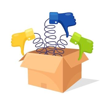 Cartone aperto, scatola di cartone con i pollici in giù illustrazione Vettore Premium