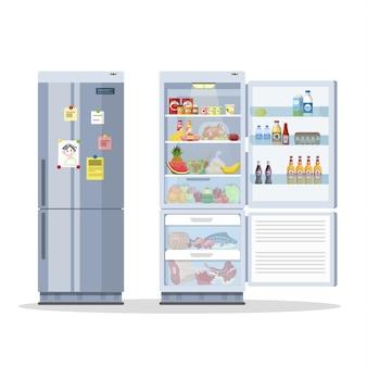Frigorifero o frigorifero aperto e chiuso con il cibo. latte, frutta e verdura, alcool all'interno. illustrazione