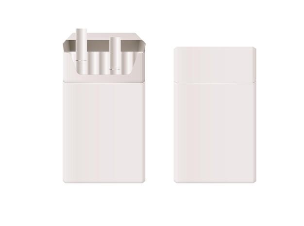 Modello di pacchetto di sigarette pieno chiuso aperto isolato su bianco