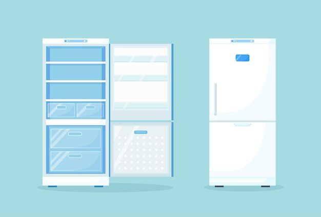 Frigorifero vuoto e chiuso aperto per cibo sano diverso. frigo in cucina, congelatore